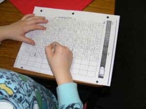 First, the student completes the page of numbers.
